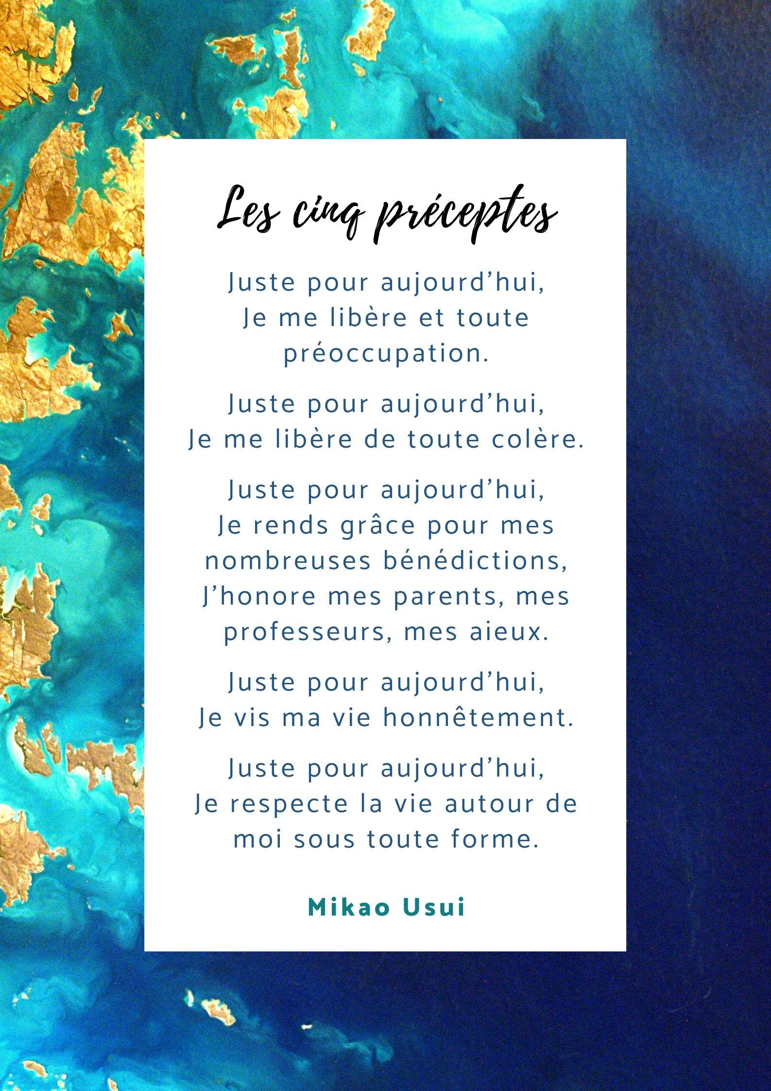 Les préceptes reiki Marjorie Goubin